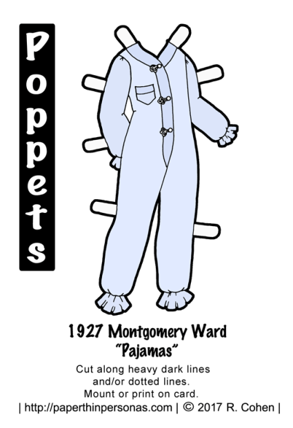 A pair of 1920's pajamas based on designs sold by the Montgomery Ward department store in 1927 for the Poppets printable paper dolls from paperthinpersonas.com in color.