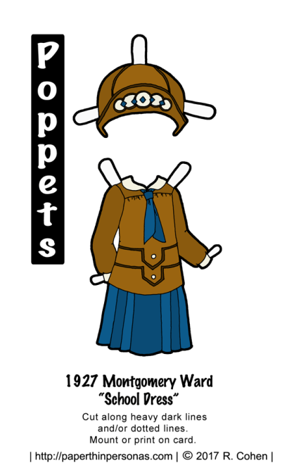 "A printable 1927 paper doll dress with matching hat from paperthinpersonas.com. The dress is a ""school dress"" with a blouse and matching pleated skirt. The hat is a cloche with contrast trim."