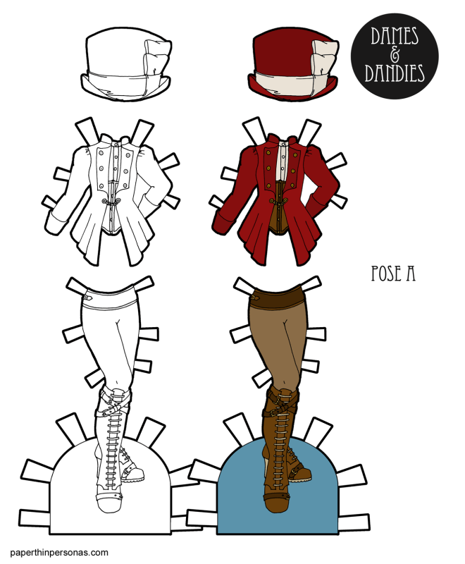 Steampunk paper doll clothing! A top hat, jacket over corset and a pair of leggings with boots. Free to print in color or black and white from paperthinpersonas.com.
