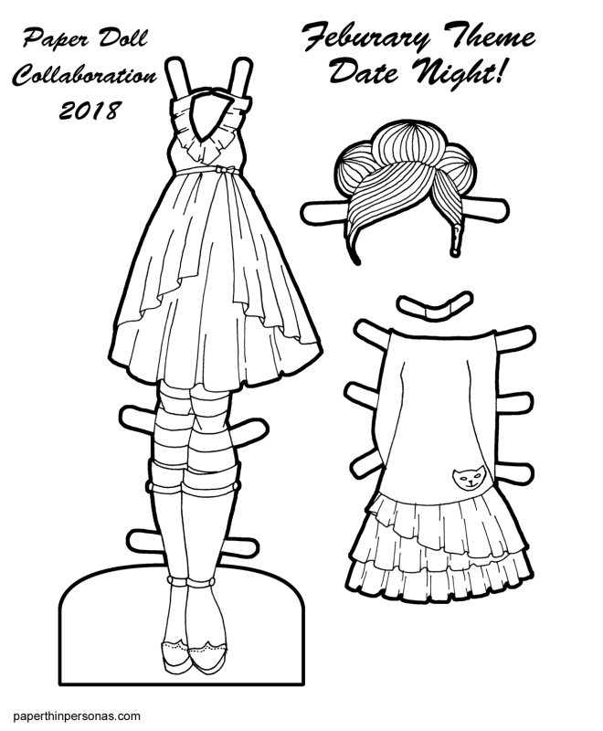 Created a set of two date night outfits for today's printable paper doll set! It's a paper doll clothing coloring page that you can print for free and color anyway you want.