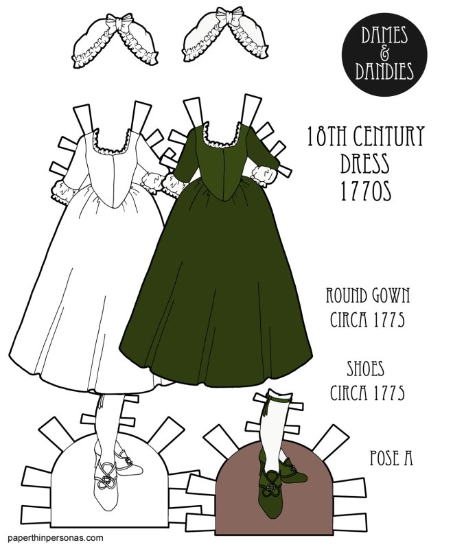An 18th century paper doll gown known as a round gown designed to fit the A Pose printable paper dolls from paperthinpersonas.com. Free to print in color or black and white. It has matching shoes and a bonnet.