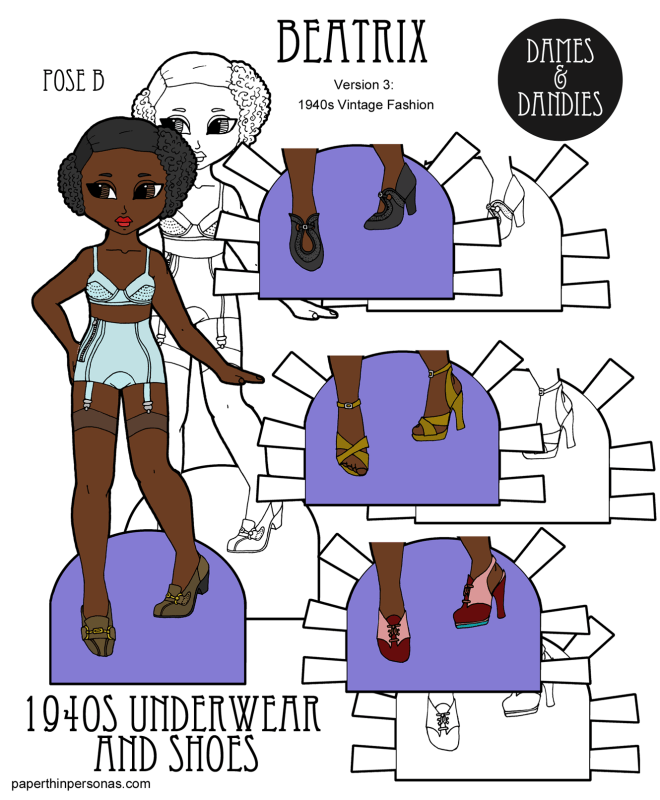 A printable paper doll in black and white and in color with 1940s period underwear and four pairs of shoes. The paper doll is a young black woman with period 1940s underwear, shoes and hair. She has three other pairs of shoes to wear.
