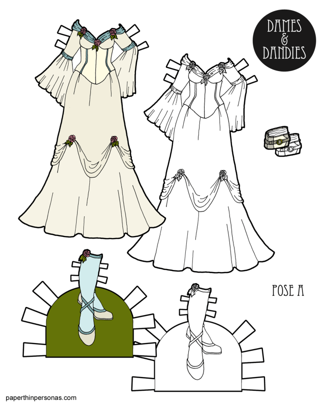 A medieval wedding dress design trimmed in pink roses and pale blue with matching shoes for the paper dolls. Available to print for free in color or black and white.