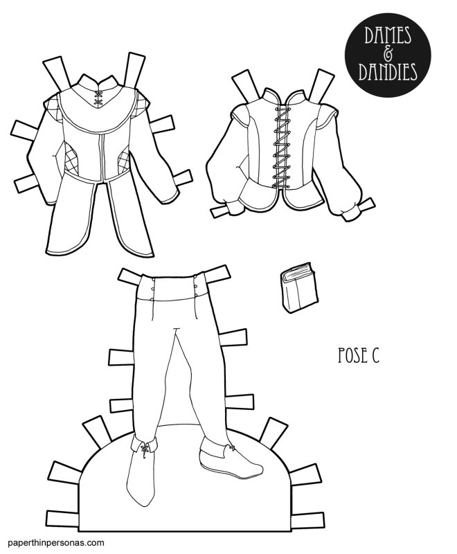 A paper doll coloring page printable featuring guy paper doll clothing with two jerkins, leggings and a book.