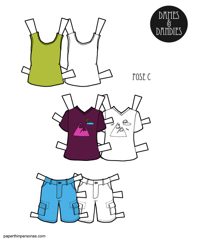 A summery set of guy paper doll clothing with cargo shorts, a tank top and t-shirt. Free to print in color or black and white for coloring!