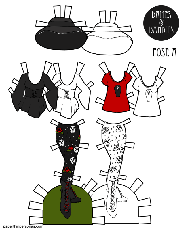 A set of goth paper doll fashions for the A pose paper dolls from paperthinpersonas.com. The set includes a black picture hat, scull covered leggings, a t-shirt with a coffin on it and a black tunic with a corset belt. You can print them in color or black and white for coloring.