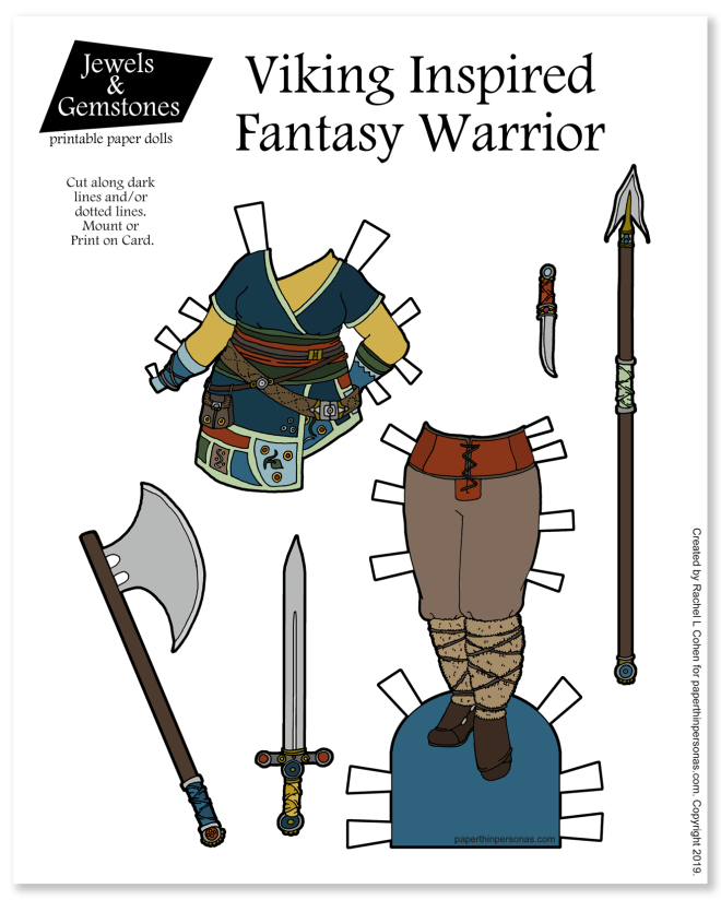A viking woman warrior fantasy outfit with trousers, tunic and weapons. The weapons are critical to the design. A free printable art design in color or black and white.