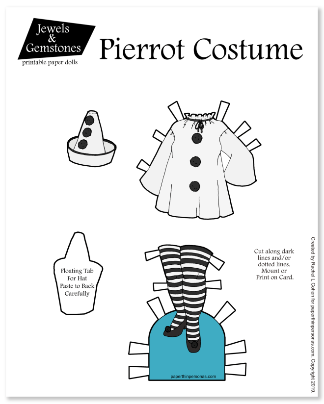 A Pierrot inspired paper doll costume to print and play with.