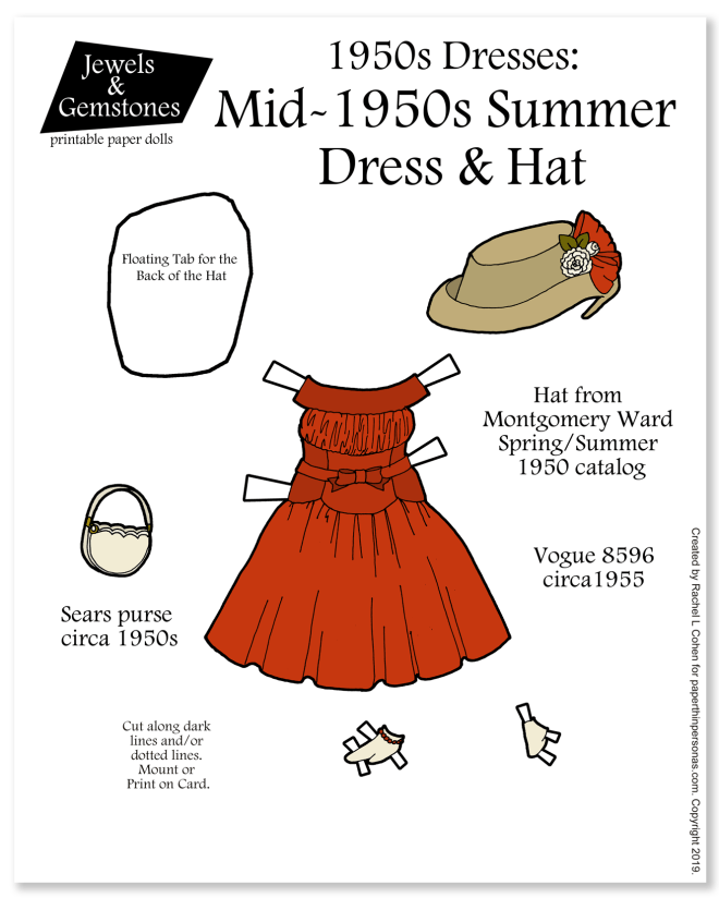 A lovely Mid-1950s Summer Dress with hat. The dress is from Vogue in 1955. The hat is from Montgomery Ward in 1950. The purse is from Sears.