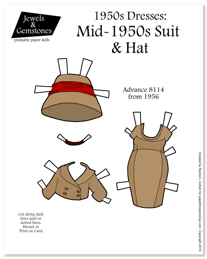 A fitted suit from 1956 with bucket hat and matching necklace. Free to print from paperthinpersonas.com.