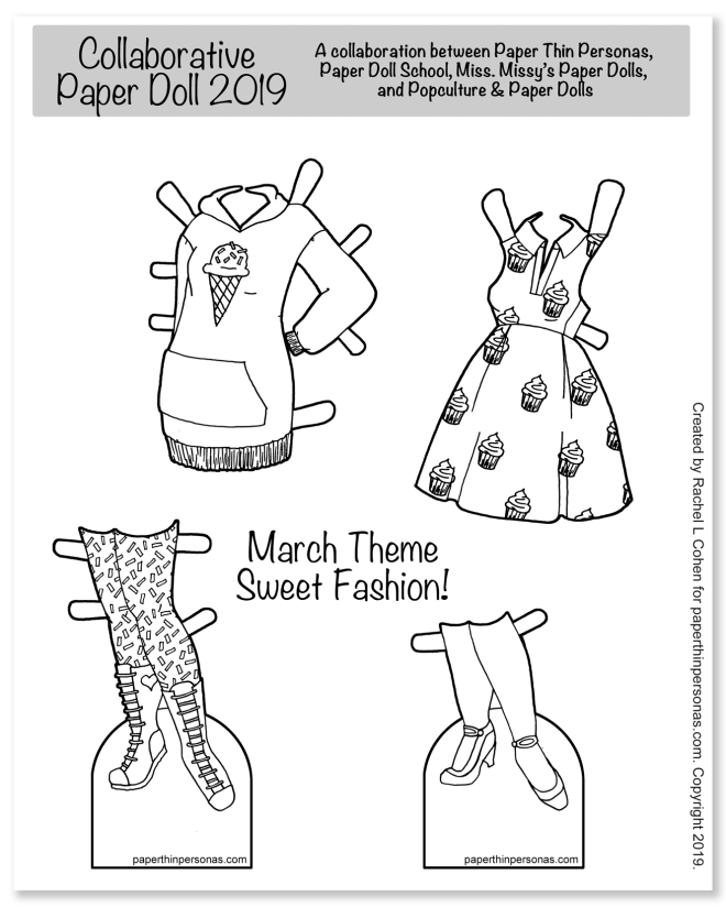 A coloring page focused on food/sweet fashion clothing.