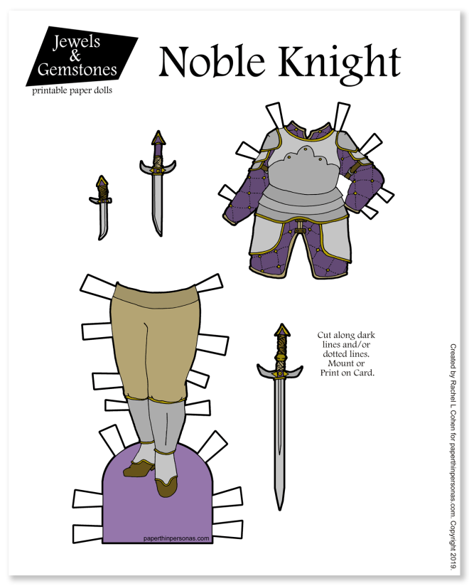 A set of female knight armor with swords for the paper dolls today! Not as heavy duty as full plate, but I had a lot of fun designing it. As always, there's a black and white version too if you want.