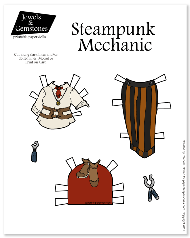 A set of printable paper doll clothing with striped trousers, shirt and boots in a steampunk style from paperthinpersonas.com. Includes tools as an accessory and can be printed in color or black and white for coloring.