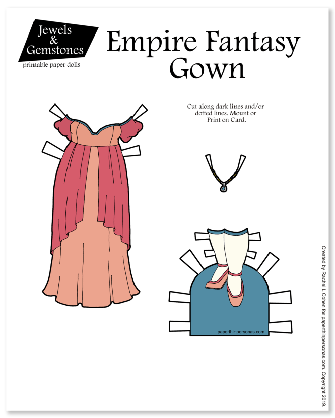 A pretty fantasy gown with an empire silhouette and over the shoulder puffed sleeves. Printable in color or black and white for coloring.