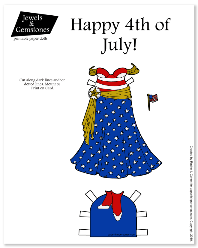 A 4th of July patriotic paper doll gown with stars and stripes for the curvy Jewels and Gemstones paper dolls.