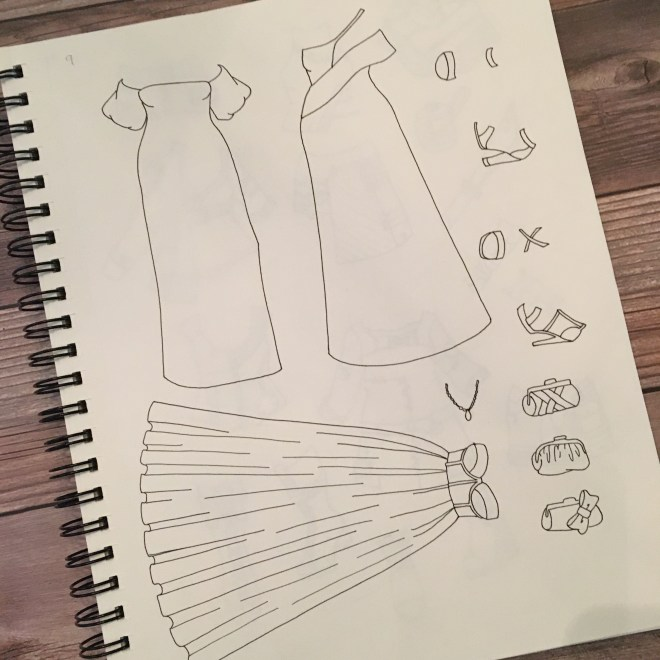 A page of my sketchbook featuring evening gowns.