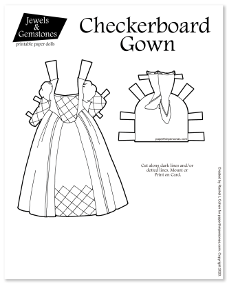 Black and white paper doll coloring sheet to print inspired by a chessboard. Dress up doll fun from paperthinpersonas.com