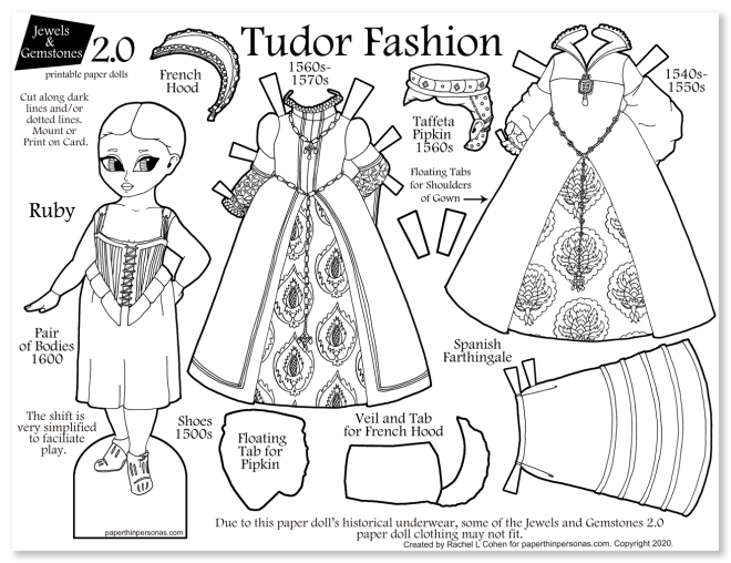 A printable tudor clothing paper doll coloring page with two dresses and period underwear. A great homeschooling history project.