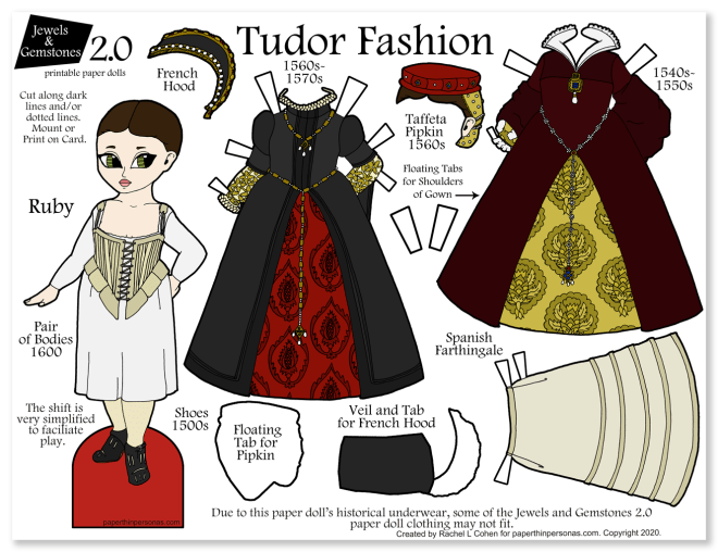 A printable tudor clothing paper doll with two dresses and period underwear.  A great way to introduce kids to Tudor history and clothing.