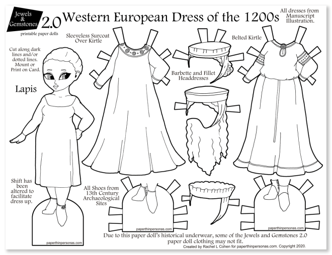 A paper doll celebrating 13th century women's clothing with several dresses and headdresses.