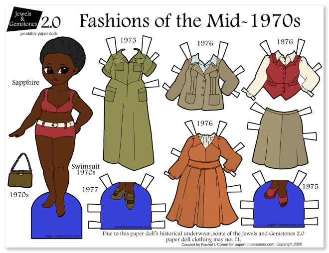 A 1970s fashion paper doll printable. Fun vintage fashion activity for kids featuring a black paper doll and her wardrobe from the mid-1970s.