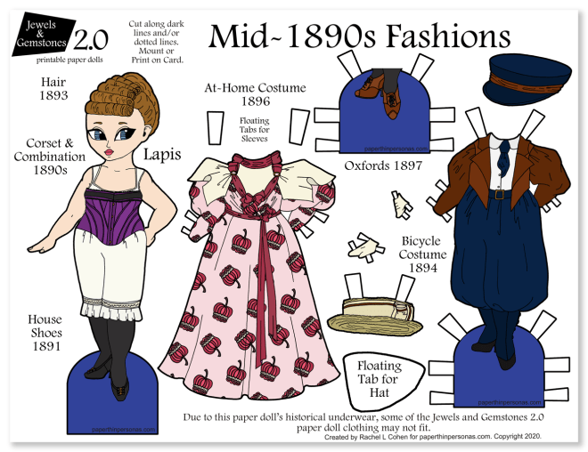 A printable paper doll celebrating the 19890s with two historical outfits, shoes, underwear and hats. Super great way to show fashion history to kids.