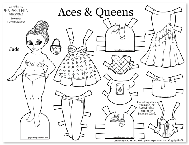 A playing card inspired paper doll with dreadlocks and a mix and match wardrobe.
