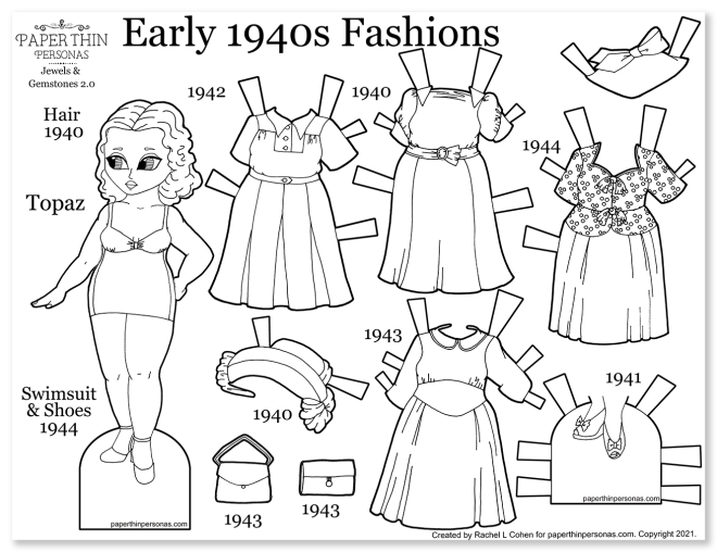 A black and white printable 1940s paper doll coloring page with vintage fashions to color. Four mix and match dresses, plus hats and shoes.