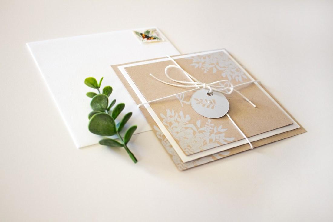 eucalyptus wedding invitation wrapped up