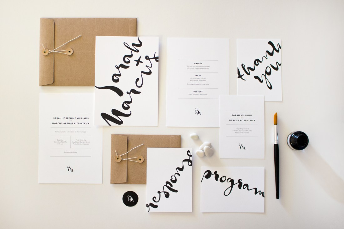 Monochrome Minimalist wedding invitation suite