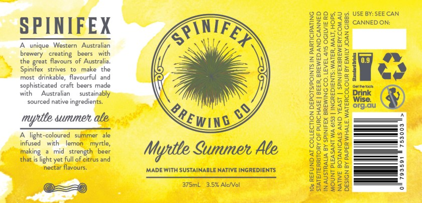 Spinifex Brewing Co Myrtle Summer Ale Can Label Design