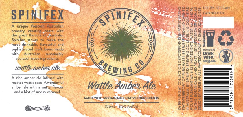 Spinifex Brewing Co Wattle Amber Ale Can Label Design