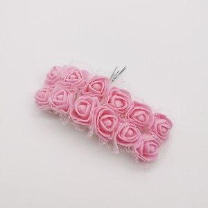 Różyczki piankowe z tiulem 2cm różowe jasne 12szt