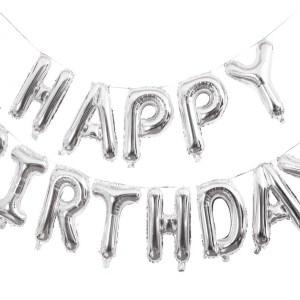 Balon Foliowy Happy Birthday Srebrny