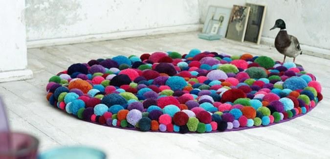 Make a Colourful Pom Pom Rug for the Classroom