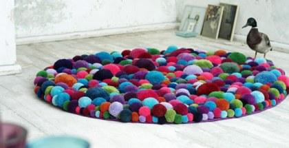 colourful pom pom rug