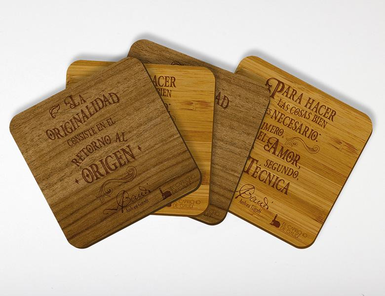 Set Posavasos madera
