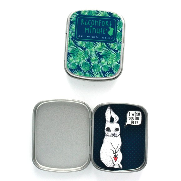 Boite réconfort minute lapin I wish you the best bleu et vert
