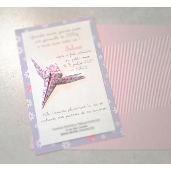 faire part bapteme original pour fille libellule en origami liberty violet haute qualite faire part naissance haut de gamme