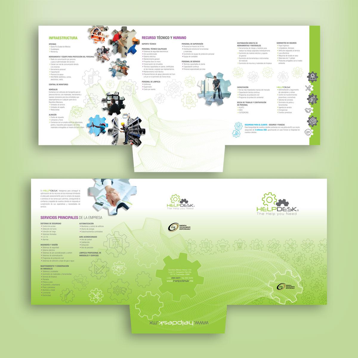 diseño gráfico de folder comercial Helpdesk