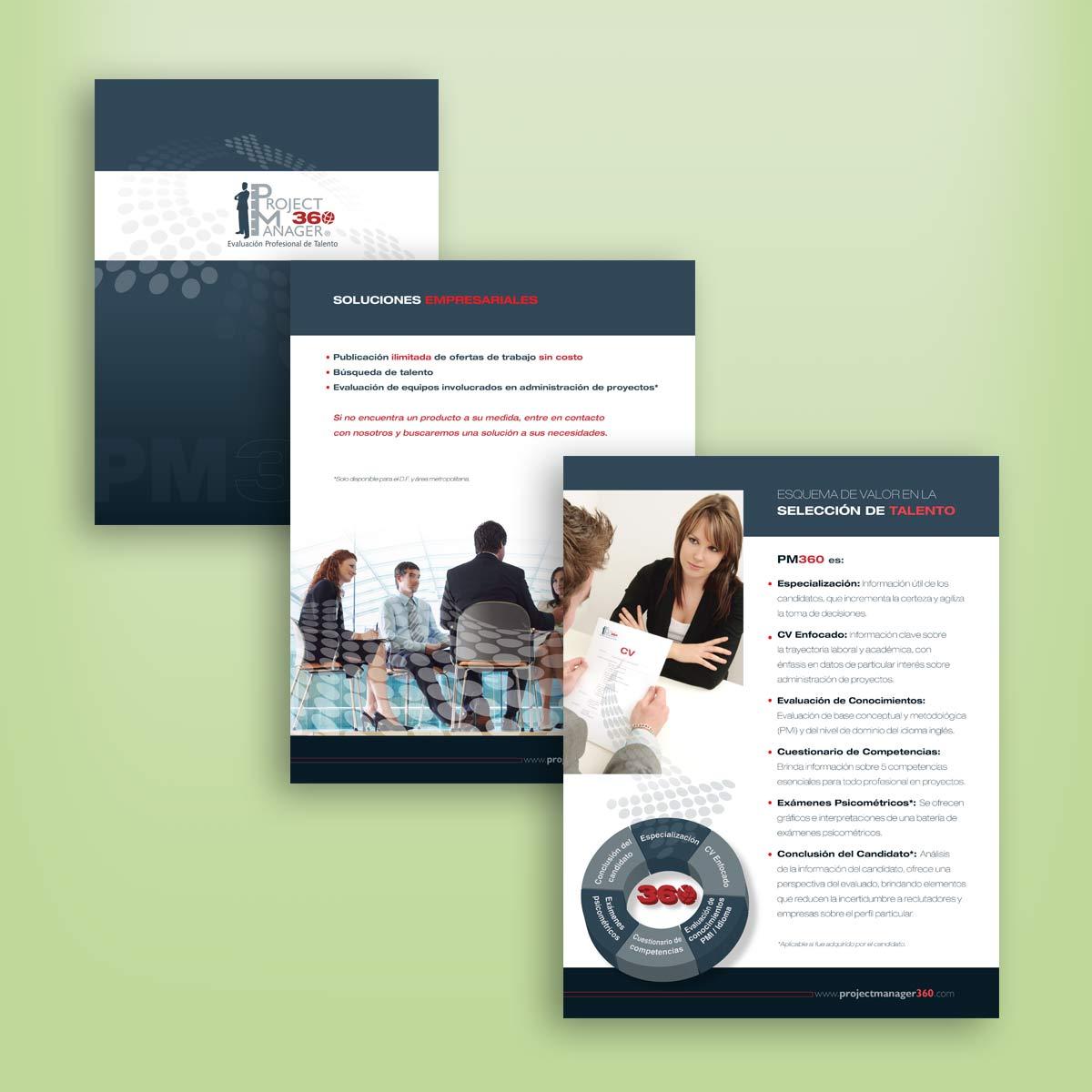 diseño de folleto comercial PM360