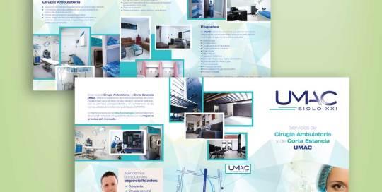 diseño de tríptico cOmercial UMAC
