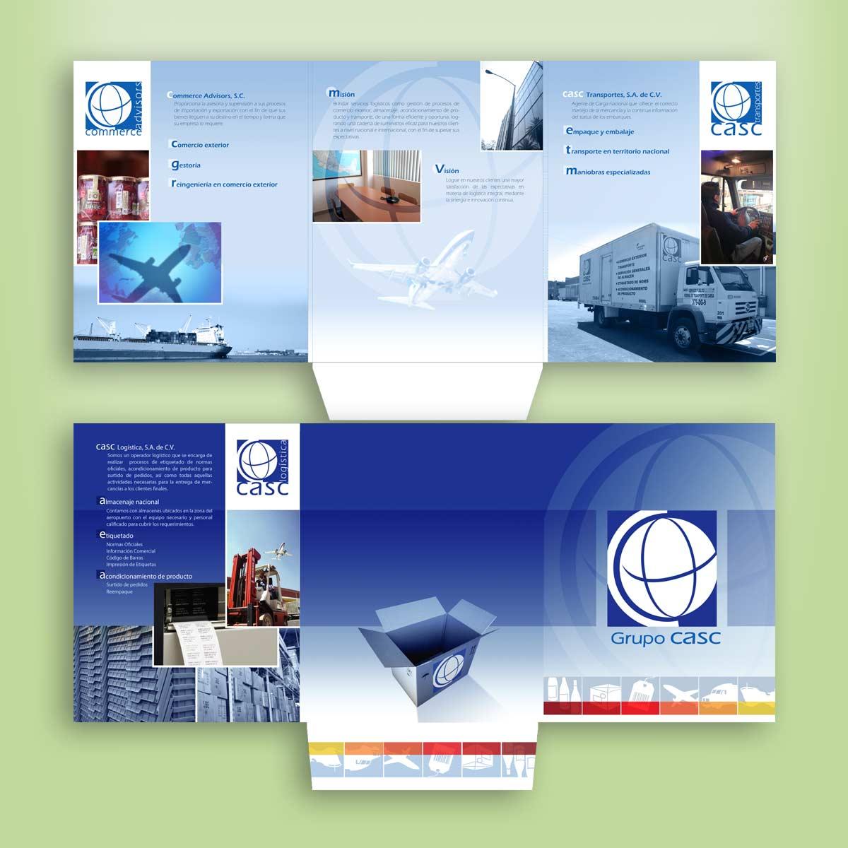diseño de folder comercial CASC