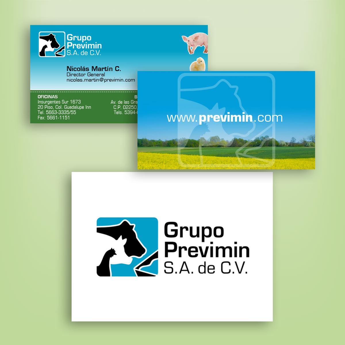 diseño de logotipo y tarjeta Previmin