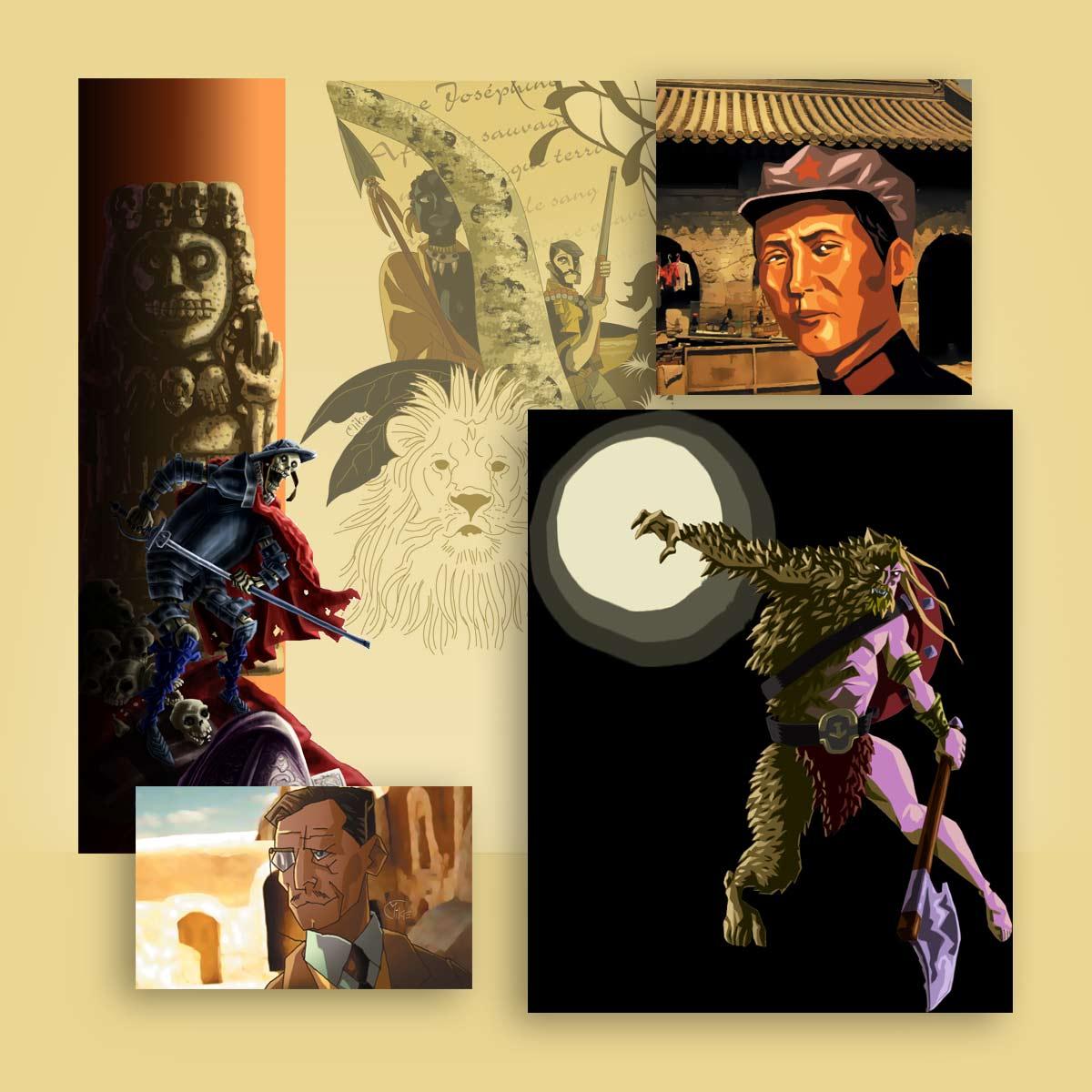 ilustración retrato y personajes Arkeos
