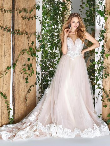 ball gown with illusion sweetheart neckline