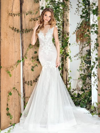 fit-and-flare lace wedding dress