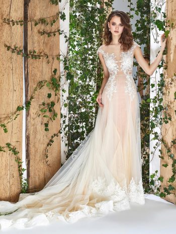 wedding dress with illusion plunging neckline