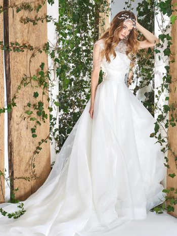 Ball gown wedding dress with feathers and beads