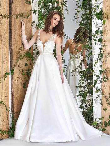 Satin A-line wedding dress with crisscross spaghetti straps